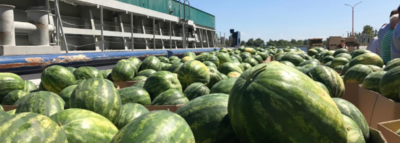 Watermelons travel by barge in Ukraine.