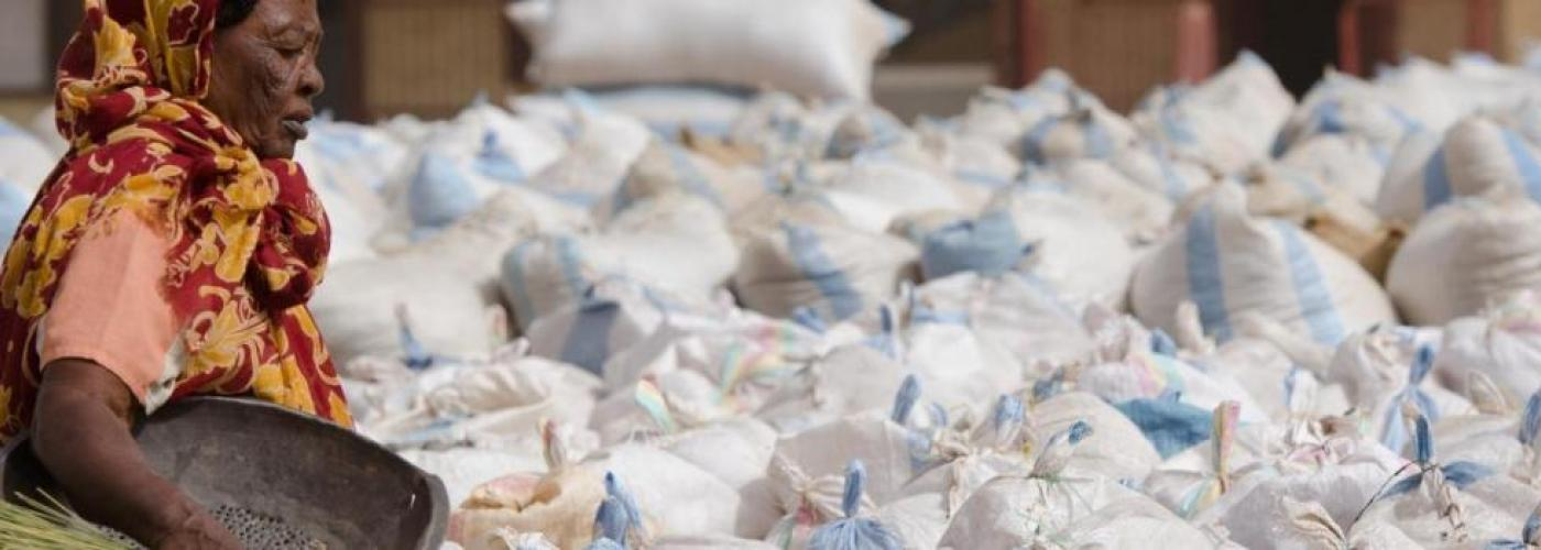 A female worker sorts Gum Arabic lots for shipment in a crop market Sudan.