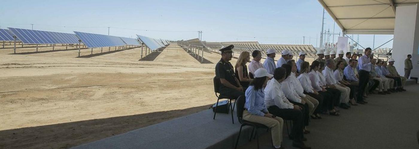 Photo description: Energy officials inaugurate La Central Fotovoltaica Aura Solar in Baja California, Mexico. Credit: Presidencia de la Republica Mexicana.