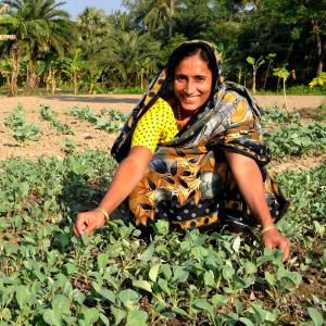 A female farmer smiles at the camera while tending to her crops