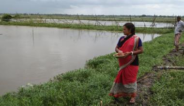 A woman shrimp farmer stands next to a body of water
