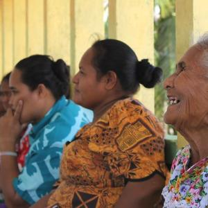 Photo: A women's committee on Manono Island, Samoa.