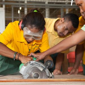 Students at The Hohola Youth Development Centre where students learn vocational training skills.
