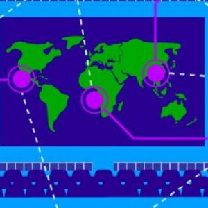 Graphic of a computer displaying a map with offshoots of data images