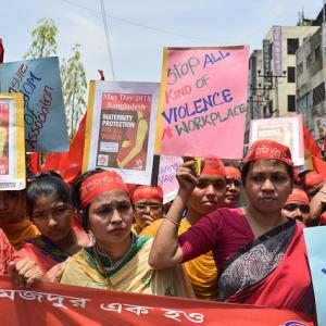 Female workers in Bangladesh rallying at a protest. Photo Credit: Musfiq Tajwar, Solidarity Center.