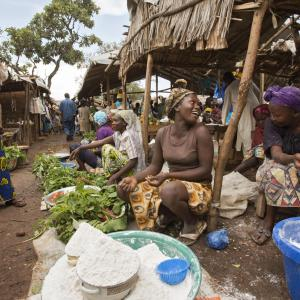 Photo: Women sell home-grown vegetables and cassava flour at the market in the Gado refugee camp. Photo Credit: UN Women/Ryan Brown