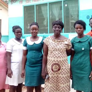 The midwife and staff of a participating private maternity home. Photo: USAID Saving Maternity Homes in Ghana Project.