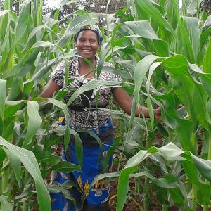 Photo: Mrs. Muthira, a smallholder maize farmer in Kenya, proudly shows off her crops at her farm in Migori Country.