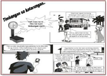 Comics on issues related to cheating and calibration of weighing scales